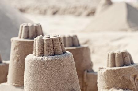 german north sea region: Sand castles at beach, Germany
