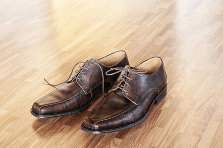 wooden shoes: A pair of brown shoes in a home interior