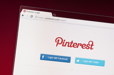 Muenster, Germany - March 12, 2012: Close-up photograph of the Pinterest website.  Pinterest is an online pinboard or social photo sharing website: a place where you can post collections of things you love. Pinterest is managed by a team based in Palo Alt