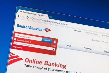 Muenster, Germany - March 13, 2012: A close up of bankofamerica.com site in Google Chrome browser on LCD screen.  The Bank of America is one of the largest banks of the United States, headquartered in Charlotte, North Carolina. Stock Photo - 13021575