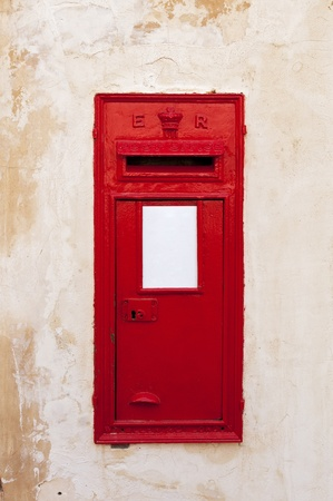 king edward: A British wall post box with a ER cipher, representing King Edward VII  No country markings and blank collection plates for you to fill in  This example was photographed in Mdina, Malta