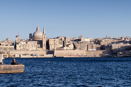 Amazing view from the sea on the beautiful harbor of Valletta, Malta  Stock Photo - 13831111