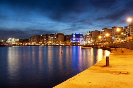 Night view of Sliema, near Valletta, Malta  Stock Photo