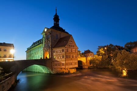 guild hall: Old Town Hall of Bamberg was built in the middle of the Regnitz river, accessible by two bridges, Germany  The medieval old town of Bamberg is listed since 1995  Stock Photo