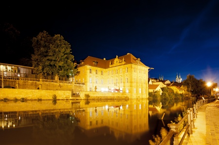 concordia: Night scenes of Bamberg with the Regnitz river, the International Artists House Villa Concordia and Imperial Cathedral, Germany