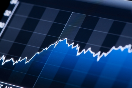 Close-up von einem Aktienmarkt Graphen auf einem hochauflösenden LCD-Bildschirm