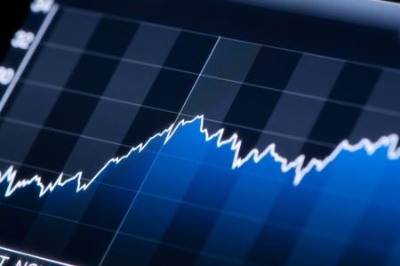 Primer plano de un gráfico de mercado de valores en una pantalla LCD de alta resolución