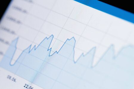 Close-up of a stock market graph on a high resolution LCD screen  Stock Photo
