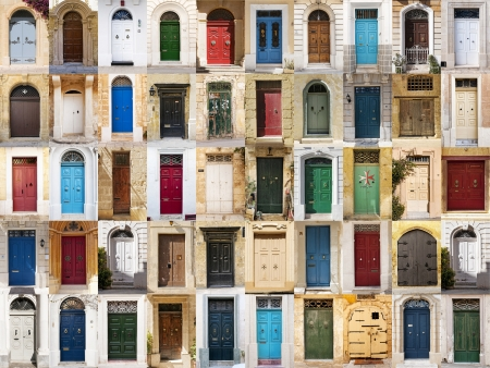 A photo collage of 50 colourful front doors to houses from Malta
