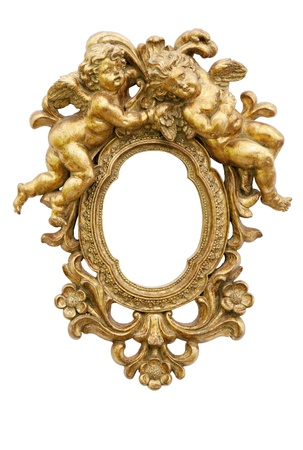 baroque frame: Small mirror with angels in gold