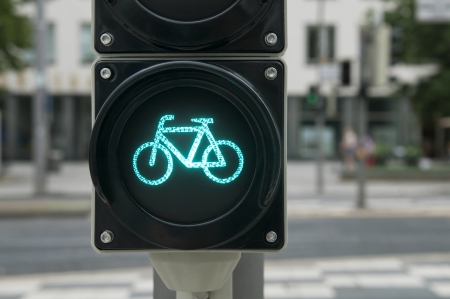 Green light for bicycle lane on traffic light