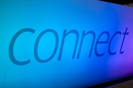 illuminated wall: Connect word on blue illuminated wall