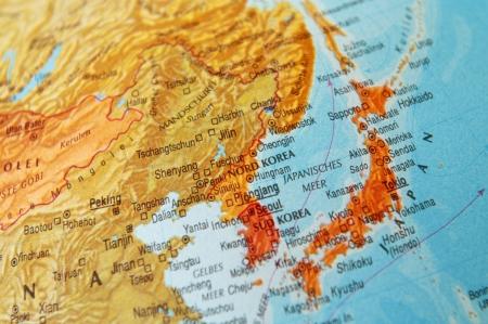 Detail einer Weltkarte auf Japan und Korea. Standard-Bild - 19092697