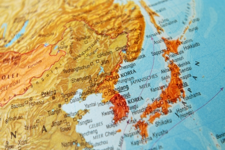 south east asia map: Detail of a world map on Japan and Korea.