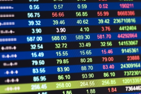 fluctuation: Close-up of stock market values on LCD screen.