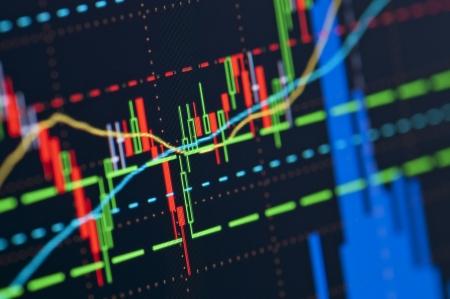 Close-up von einer Börse Diagramm auf einem hochauflösenden LCD-Bildschirm. Standard-Bild - 19092694