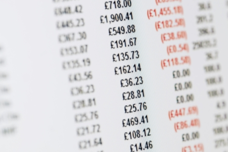 cash flow statement: Business Concept - Close-up of balance sheet in pounds on a high resolution LCD screen.