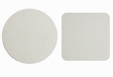 Image of two new beer coasters isolated on a white background  Add your own design  Stock Photo