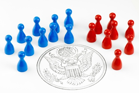 Game figures with Great Seal symbolizing the major political parties in the United States  photo