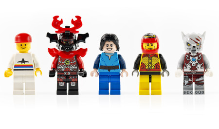 lego: Muenster, Germany - December 7th 2014: A group of five various mini lego characters isolated on white. Lego is a line of construction toys manufactured by the Lego Group popular. Editorial