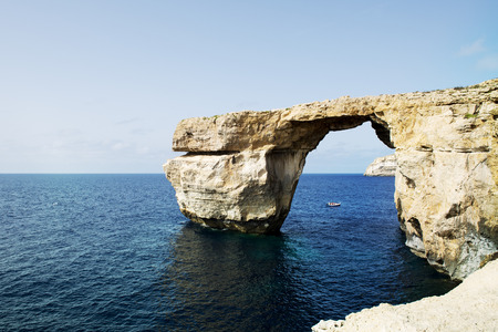 rock strata: The famous Azure Window in Dwejra, Gozo, Malta.