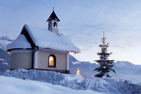 Chapel at Lockstein in Berchtesgaden with Christmas Tree, Germany.