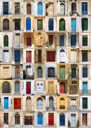 A photo collage of 64 colourful front doors to houses from Malta. Archivio Fotografico