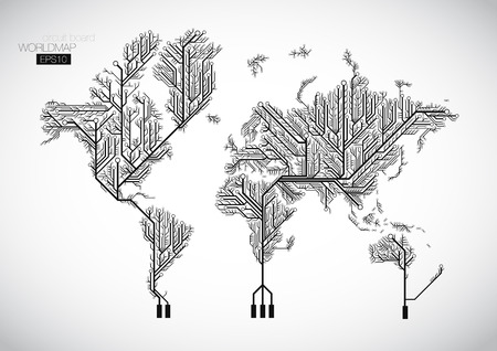 회로 기판 선으로 연결된 세계지도입니다. 일러스트