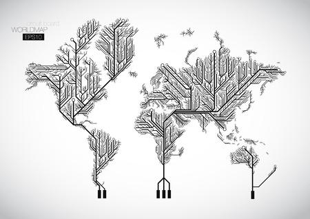 componentes: Mapa del mundo conectado por líneas de placa de circuito.