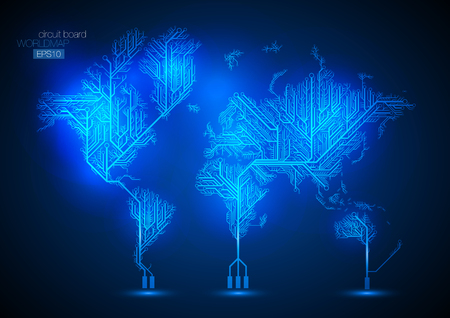 World map connected by Circuit board lines.
