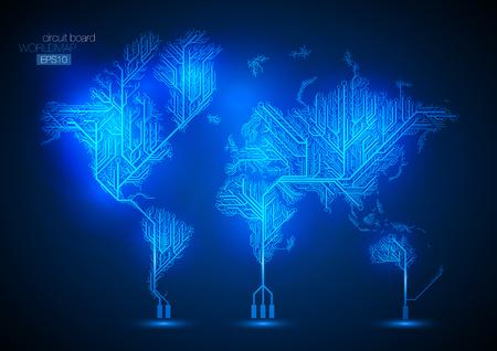 circuitos electronicos: Mapa del mundo conectados por líneas de placa de circuito. Vectores
