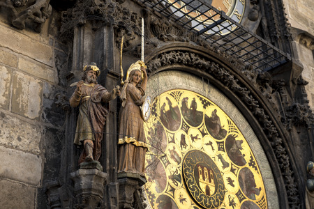 timekeeping: Prague Astronomical Clock Prague Astronomical Clock - on wall of Old Town City Hall in Old Town Square in Prague, Czech Republic