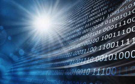 tecnología informatica: Resumen de antecedentes de código binario con luces de bokeh. Foto de archivo