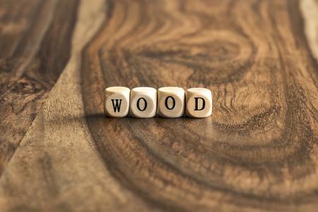 WOOD word background on wood blocks Stock Photo