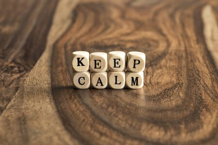 wood blocks: KEEP CALM word background on wood blocks