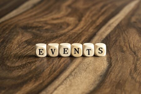 Event: EVENTS word background on wood blocks Stock Photo