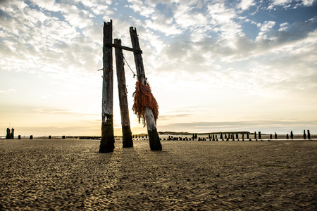 remnants: Remnants of an old pier on the East Pier eastside of the Iceland Wangerooge, Germany