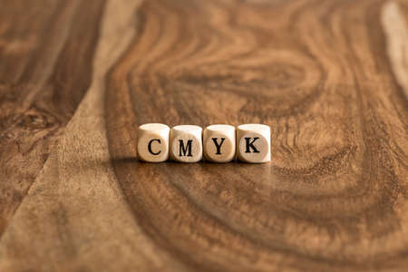 wood blocks: CMYK word background on wood blocks