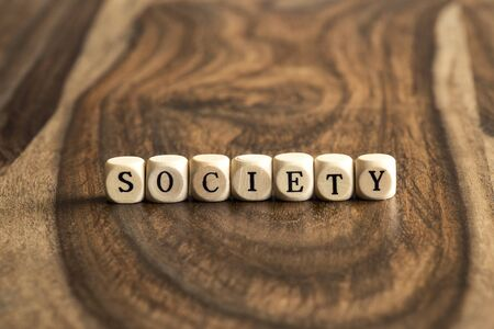 SOCIETY word background on wood blocks