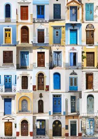 Photo collage of 36 colourful front doors to houses from Karpathos, Greece. Stock Photo