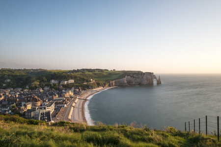 seaview: Scenic view of the famous cliffs of Etretat in Normandy at sunset, France Stock Photo