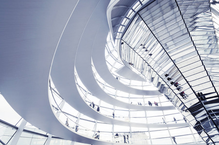 BERLIN, GERMANY - NOVEMBER 9 : View of Reichstag dome on NOVEMBER 9, 2009 in Berlin, Germany. The Reichstag dome is a glass dome constructed on top of the rebuilt Reichstag building