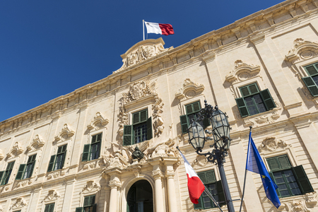 The lovely proportionate Auberge de Castille is a baroque palace in Valletta, currently the offices of the Prime Minister of Malta.