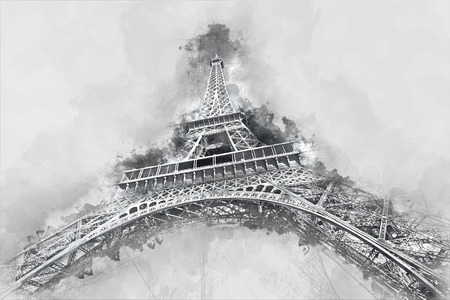 Watercolor painting of the Eiffel Tower, one of the most visited monuments in Paris, France. Illustration on gray background.