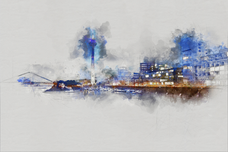 Watercolor painting of the Media Harbor at Rhine-River with Rhine-Tower and famous buildings from Frank Gehry in Duesseldorf, Germany. Illustration on gray background. Stock Photo