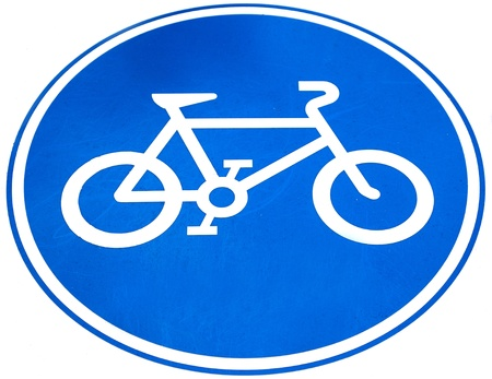 bicycle lane: Sign of a bike or bicycle lane, isolate on white background Stock Photo
