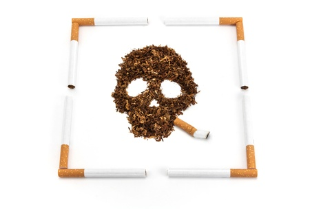 tobacco made from Skull with a cigarette frame Stock Photo - 19245027