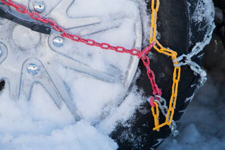 traction: Chains snow for the wheel car, deep snowy winter