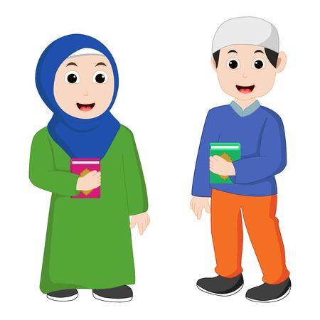 Muslim couple vector bring Al-quran