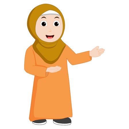 Muslim girl vector is pointing and smile